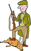 Cartoon Hunter With Rifle Standing on Deer