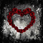 Dark Valentine, purple roses in form of heart