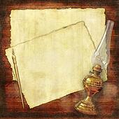 write old times collage wallpaper: an ink-pen, an oil-lamp