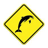 dolphin yellow and black sign - no fishing allowed