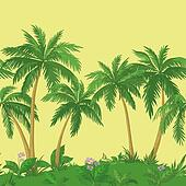 Palm trees and flowers, seamless