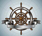 Ship steering wheel with banner.