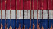 Netherlands Flag tinted vertical on the wood texture