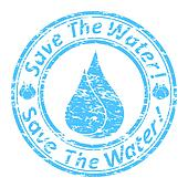"""Vector illustration of the blue grunge rubber stamp with the text  """"save the water!"""" written inside the stamp."""