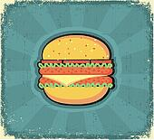 Hamburger poster.Retro image on old paper texture
