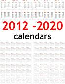 New year 2012 - 2020 Calendars