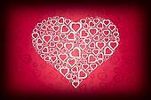 White Heart Design on Red