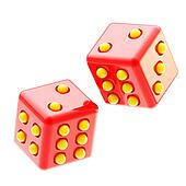 Playing red and yellow glossy dices isolated