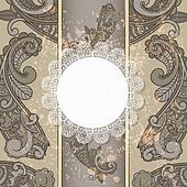 vector menu with paisley pattern and napkin for your text on  gr