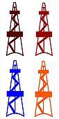 Oil derricks colored set