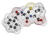 Penicillin G (benzylpenicillin) antibiotic drug molecule. Used t