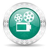 movie green icon, christmas button, cinema sign