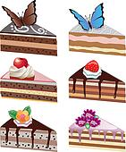 vector cake slices with fruits, chocolate, butterflies and flowe