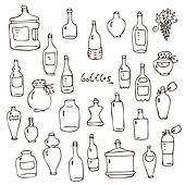 Bottles vector set