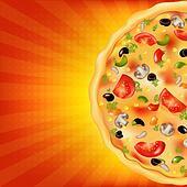 Pizza Poster With Sunburst