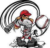 Baseball Player Cartoon Swinging Ba