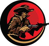 Cowboy Profile Aiming Guns Mascot