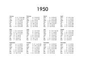 Calendar of year 1950