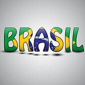 Brazil Letters with Brazilian Flag. football