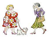 Fat woman walking dog