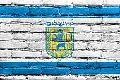 Flag of Jerusalem, painted on brick wall