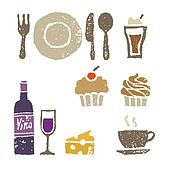 Wine and sweets, restaurant elements illustration