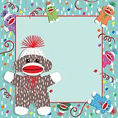 Baby Sock Monkey Shower Invitation