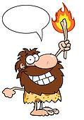 Caveman Holding Up A Fiery Torch