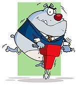 Gray Bulldog Using A Jackhammer