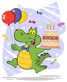 Crocodile Holding Up A  Cake