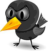 vector bad angry black raven bird.