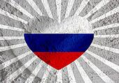 Love Russia  flag sign heart symbol on Cement wall texture backg