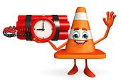 Construction Cone Character with time bomb
