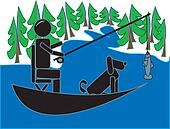 Stick Figure Fishing With his Dog