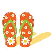 flip flop for beach with flower illustration