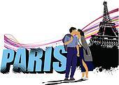 3D word Paris on the Eiffel tower