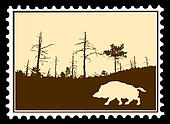 silhouette wild boar on postage stamps