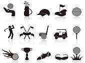 black golf icons set