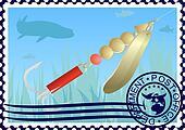 Postage stamp. Fishing tackle