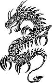 Iconic Dragon Tribal Tattoo Vector
