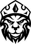 Head of a fierce crowned lion