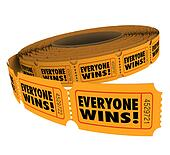 Everyone Wins Fundraiser Raffle Ticket Roll Spread Victory WInne