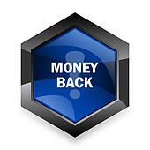 money back blue hexagon 3d modern design icon on white background