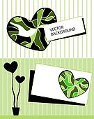 Card with stylized heart tree and t