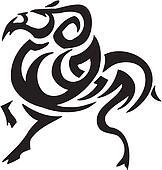 ram in tribal style - vector illustration