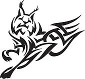 lynx in tribal style - vector illustration