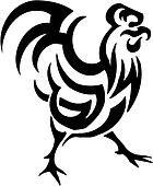 cock in tribal style - vector illustration