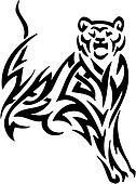 Puma in tribal style - vector illustration