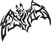 bat in tribal style - vector illustration