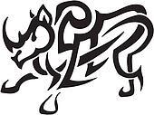 rhino in tribal style - vector illustration
